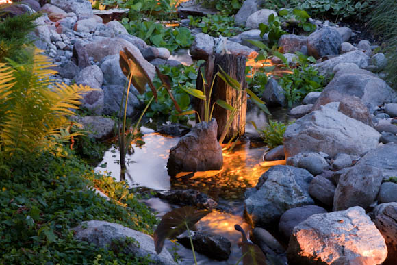 Adding low voltage lighting to a stream adds a lot of interest at night